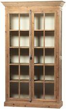 """91""""Tall Delfina Cabinet Double Door Multiple Shelves Brown Wood Glass Panels"""