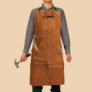 Orignal LEATHER MEN And Women APRON With Tool Pockets (5 Pieces Set)