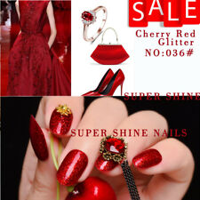 SUPER SHINE Dipping Powder Nail  Acrylic Cherry Red Glitter System   56.5g