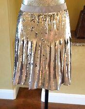NWT BANANA REPUBLIC Sequin Pleated Skirt Silver Metallic City Grey J.Crew 6