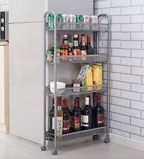 Food Storage Rack Slim Shelf Space Saving Kitchen Bathroom Garage 4 Tier Tidy