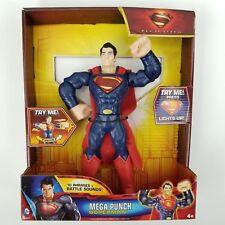 "Superman 10"" Man of Steel Mega Punch Talking Action Figure Needs New Batteries"
