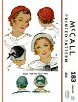 "McCall #183 Unique Beret Hat Cap Fabric Sewing Pattern Chemo Alopecia 22"" 1930's"