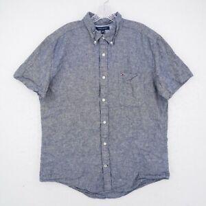 Tommy Hilfiger Button Down Shirt Adult XL Custom Fit Blue Flag Logo Linen Blend
