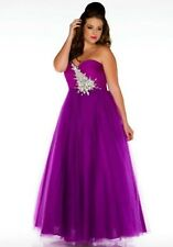 NWT Size 22W Cassandra Stone II 61277K purple chiffon jeweled prom gown formal
