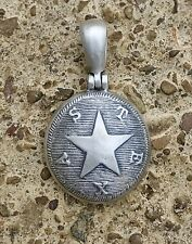 Sterling Silver Confederate TEXAS Button (TX17) Civil War Relic Pendant