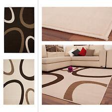 moderner Flachflor Teppiche DESIGNER Teppich Streifen Design Kaffee 160x230