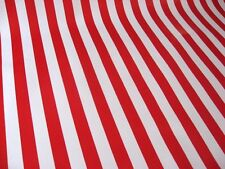 RED WHITE CABANA STRIPE FLAG CLOWN CANDY CANE OILCLOTH VINYL TABLECLOTH 48x96