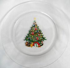 AVON CHRISTMAS TRADITIONS TREE CLEAR GLASS SALAD PLATE(S) ARCOROC