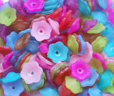 100 Mixed Brightly Coloured Acrylic Flower Beads 12mms.