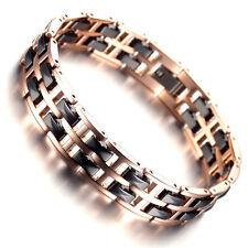 Men's Rose Gold Tungsten Carbide Black Ceramic Tow Tone Polished Link Bracelet 0