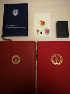 Rare Full Set officer badge honor documents silver Germany Komsomol GDR USSR DDR