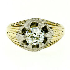 Antique Edwardian 14k Gold Men's GIA 1.01ct Old Mine Diamond Wheat Engraved Ring