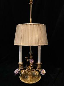 French GILT DORE'  BRONZE BOUILLOTTE LAMP w/ PORCELAIN FLOWERS