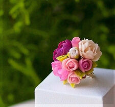 Flower Wedding Bridal ring Rose Floral Fashion polymer clay HANDMADE jewelry