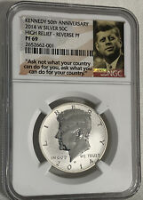 2014 W REVERSE PROOF SILVER KENNEDY 50TH ANNIVERSARY NGC PF69 ASK NOT LABEL 50c