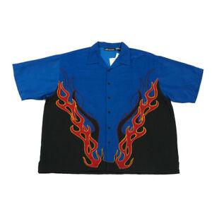 NEW Graphic Flame Shirt | 2XL | Retro Festival Party Button 90s Y2K Vintage