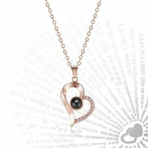 Rose Gold 100 Languages Light I Love You Projection Pendant Necklace Lover Gift