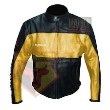 HONDA 5525 YELLOW MOTORBIKE COWHIDE LEATHER MOTORCYCLE BIKERS ARMOURED JACKET