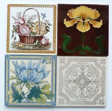 """4 Screen printed/relief moulded 6""""sq reproduction tiles by Stovax, c1987"""