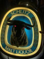 VINTAGE 1976 SCHLITZ Malt Liquor 3-D Light Up BULL Sign Working USED