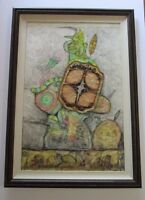 FINEST LARGE BERTHOIS-RIGAL PAINTING ASSEMBLAGE ABSTRACT SURREALISM FRENCH MOD