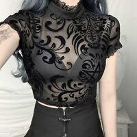 Women's See-through Lace Short Sleeve Crop T-Shirt Mock Neck Plain Blouse Tops