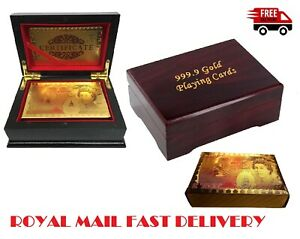 GOLD PLATED PLAYING CARDS WITH WOODEN  GIFT BOX  24K 99.9%