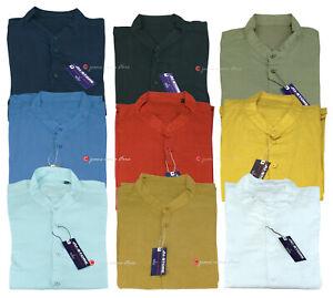 Camicia uomo Taglie forti misto lino manica lunga collo coreana casual daS a 6XL