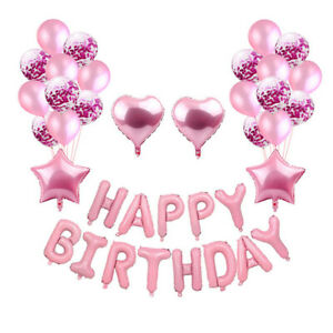 Happy Birthday Decoration Paper Follower Banner Foil Balloons Set Party Supplies