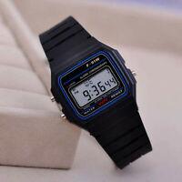F-91W LED Digital Wristwatch Silicone Sport Watch Strap Alarm Kids Gift Black