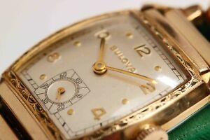 1952 vintage Art Deco Mens Bulova Wristwatch, Original Band, EXCELLENT CONDITION