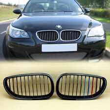 METAL  LOOK M COLOR GLOSS BLACK BMW E60/E61  4Dr FRONT GRILLS GRILLE 520d 535i
