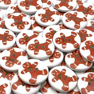 30 WOODEN GINGERBREAD MAN WOODEN BUTTONS - CHRISTMAS - CRAFT - BUY 5 GET 1 FREE