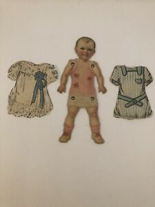 Antique Dennison Jointed Arms and Legs Paper Doll w/ Crepe Paper Clothes