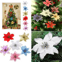 8pcs Glitter Hollow Wedding Party Christmas Flowers Xmas Tree Decorations Gifts