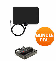 Digital Indoor Leaf Flat TV Antenna HDTV DTV + Converter Box Black UHF VHF FM HD