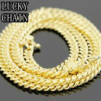 "26""925 STERLING SILVER GOLD MIAMI CUBAN LINK CHAIN NECKLACE 4mm 29g 17"