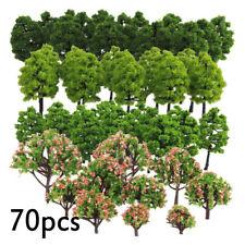 70pcs Model Trees HO Z TT Scale Layout Train Garden Park Buildings Accessories