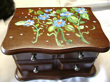 Upcycled Wood  Jewelry Box w/Floral Tole Painted Lid-Blue/Grn/Orange/Wht-Signed