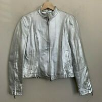 Wilsons Leather Maxima Silver Moto Leather Jacket Zip Front Sleeves Lined Size S