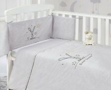 Baby Nursery Natural Grey Bunny 2 Piece Cot Bumper & Quilt Bedding Bale Set