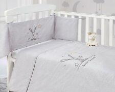 Baby Nursery Grey Bunny 2 Piece Cot Bumper & Quilt Bedding Bale Set