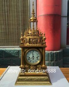 Europe Retro Bronze Mechanical Clockwork Table Clock castle revolve Timepiece