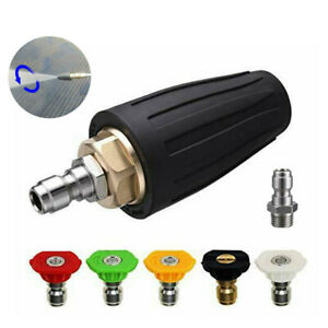"""5x Pressure Washer Rotating Nozzle Turbo Nozzle High Power Spray Tip 1/4"""" Quick"""