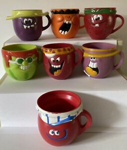 Vintage Funny Face Pillsbury Cups Mugs Lot of 7 from 1969-74