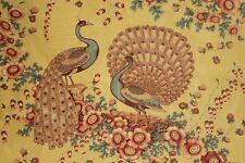 Chintz fabric peacock pattern Antique circa 1830 RARE glazed yellow ground
