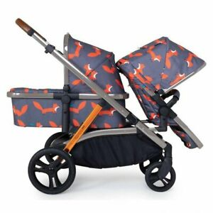 New Cosatto Wow XL tandem pushchair Charcoal mister fox with buggy board & pvc