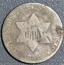 1852 3c THREE-CENT SILVER PIECE,  GRADE G+,  SKU-2286