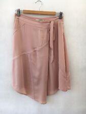 🍁❄️Womens Veronika Maine 100% Silk Asymmetrical Skirt W Waist Tie Pink Size 8